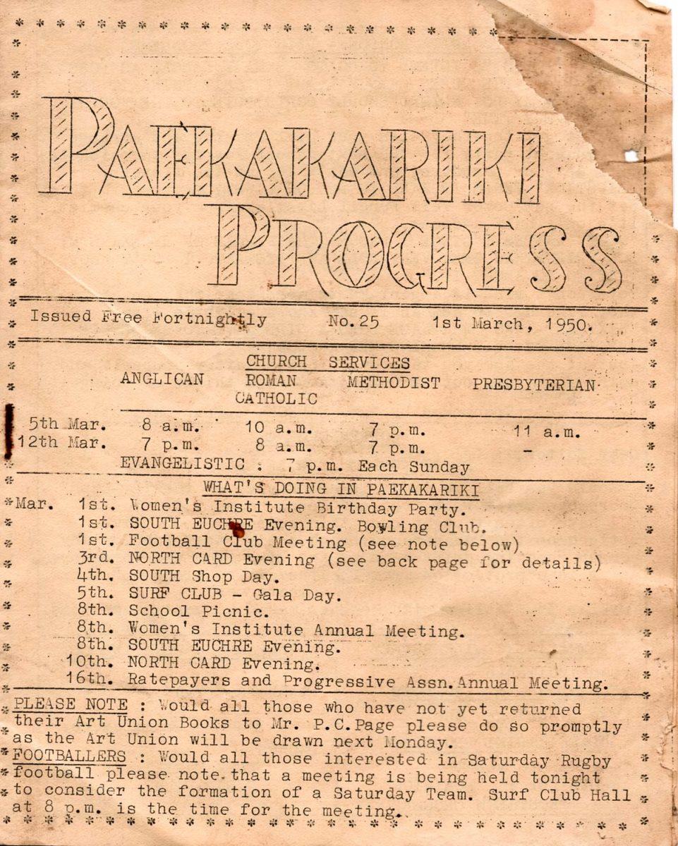 Paekākāriki Progress:  community media 70 years ago